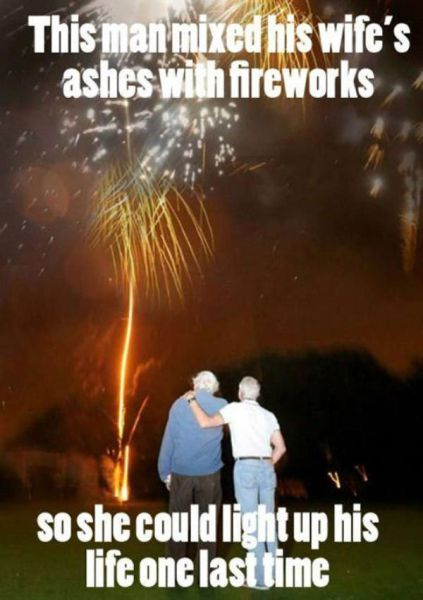 this man mixed his wife's ashes with fireworks so she could light up his life one last time