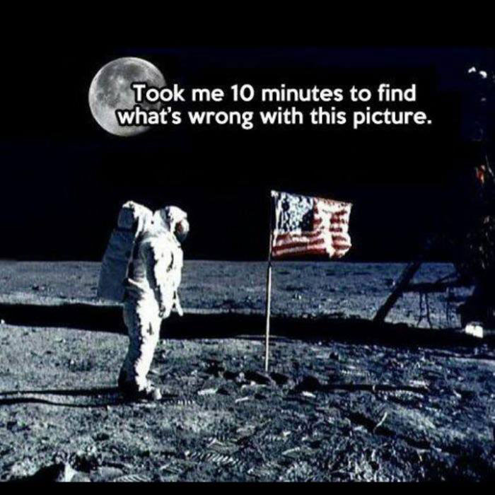 took me 10 minutes to find what's wrong with this picture, man walking on the moon with the moon in the background