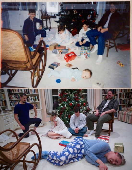 then and now christmas family portrait