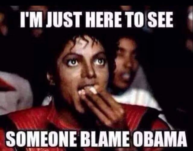 i'm just here to see someone blame obama, michael jackson eating popcorn, meme