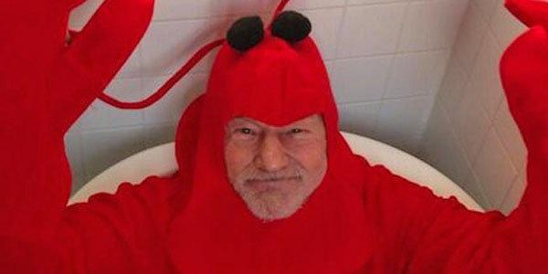 patrick stewart wearing a lobster costume, wtf