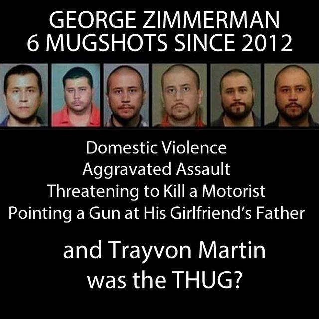 george zimmerman 6 mugshots since 2012 and trayvon martin was the thug?, injustice