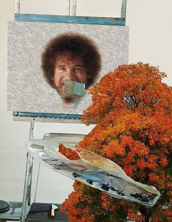 bob ross getting painted by a bush