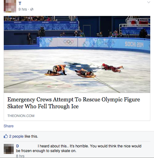 emergency crews attempt to rescue olympic figure skater who fell through ice, people reacting to fake news