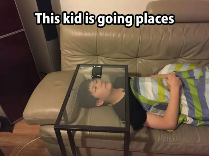 this kid is going places, glass table to hold smart phone screen