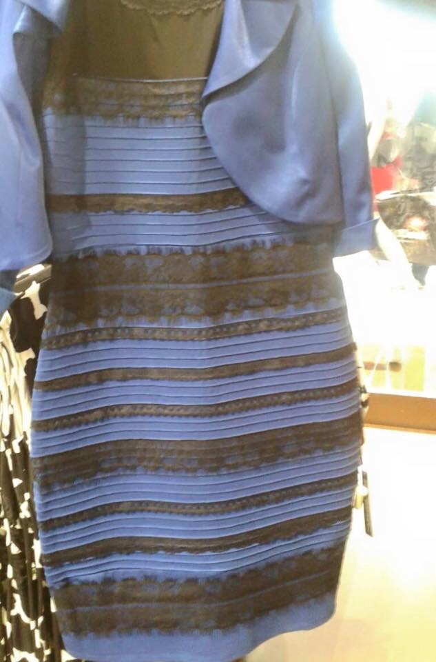 apparently some people see white and gold and other see blue and black, what colors do you see in this dress?
