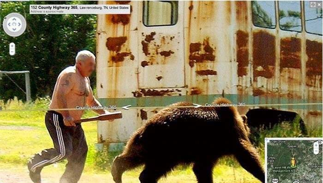 russian guy chasing a bear on google street view