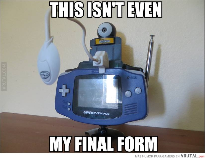 this isn't even my final form, game boy advanced with accessories, meme