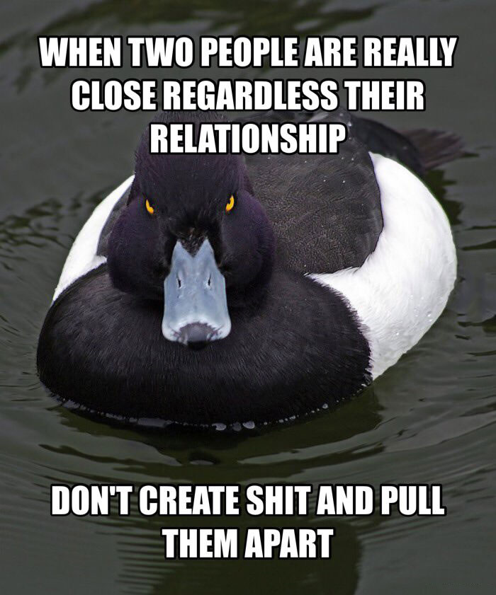 when two people are really close regardless their relationship, don't create shit and pull them apart
