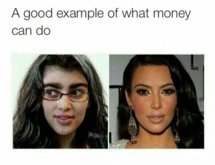 a good example of what money can do, kim kardashian