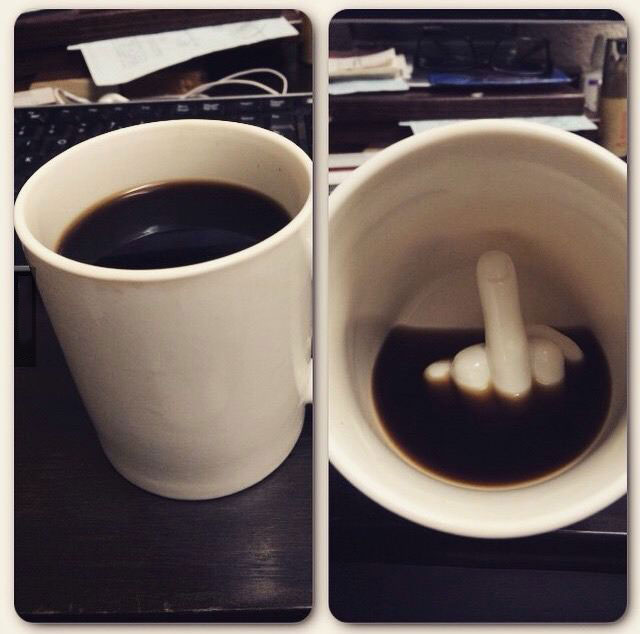 fuck you and your coffee mug, middle finger cup