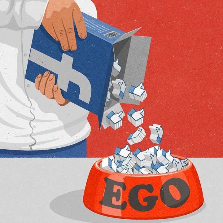 pouring facebook likes into a bowl of ego