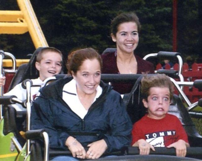 kids face on roller coaster, gurn