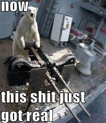 now this shit just got real, polar bear operating a double machine gun turret, wtf