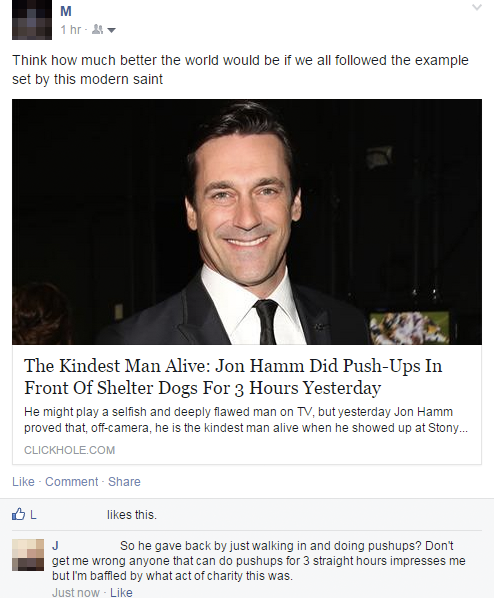 the kindest man alive, jon hamm did push ups in front of shelter dogs for 3 hours yesterday, people reacting to fake news