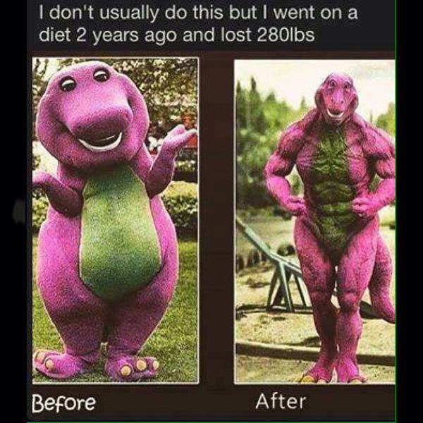 i don't usually do this but i went on a diet 2 years ago and lost 280lbs, barney the dinosaur before and after