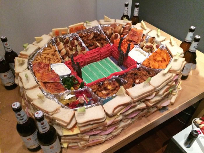 this is our first super bowl, how did we do?, stadium made out of food