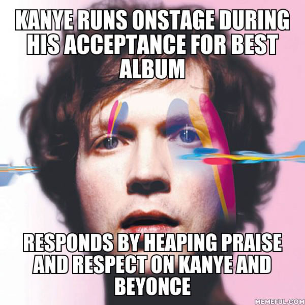 good guy beck, kanye runs onstage during his acceptance for best album, responds by heaping praise and respect on kanye and beyonce, meme