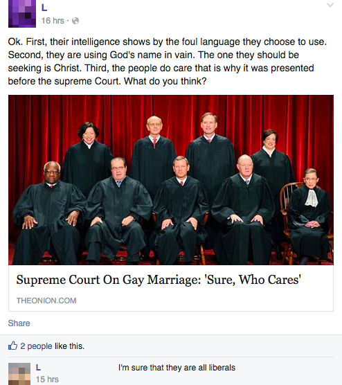 supreme court on gay marriage sure who cares, people reacting to fake news