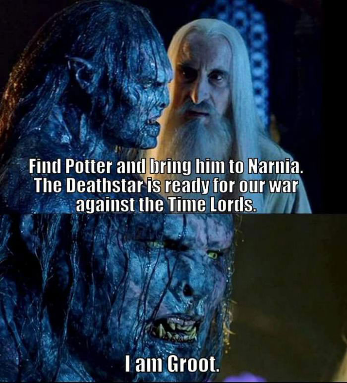 find potter and bring him to narnia, the deathstar is ready for our war against the time lords, i am groot