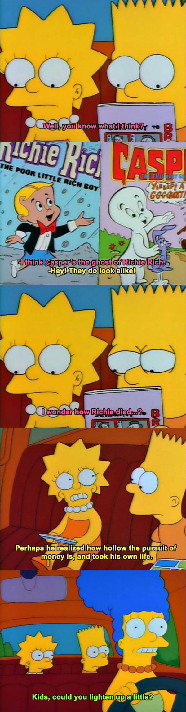 bart and lisa get really deep about richie rich and casper the friendly ghost