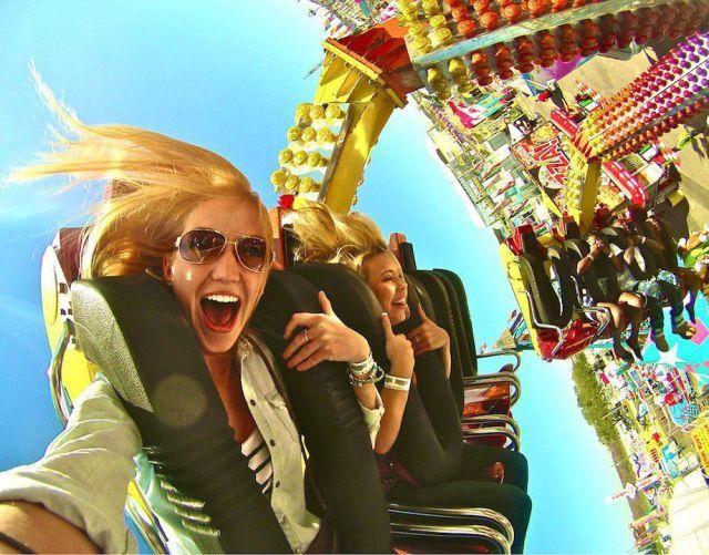 pretty cool theme park ride selfie