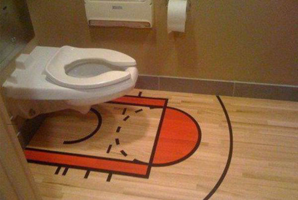 when you absolutely do not want to miss the three point shot, basketball court lines around toilet bowl