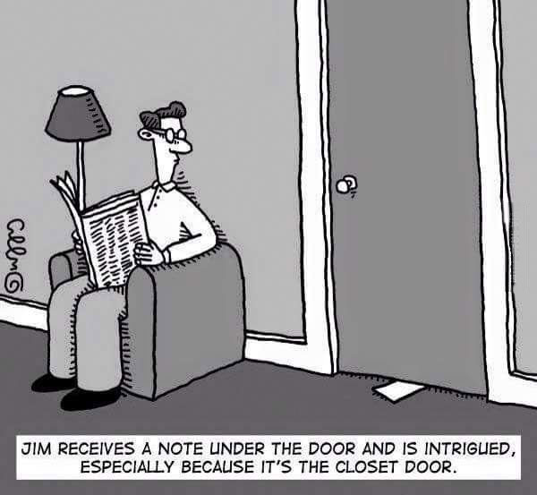 jim receives a note under the door and is intrigued, especially because it's the closet door