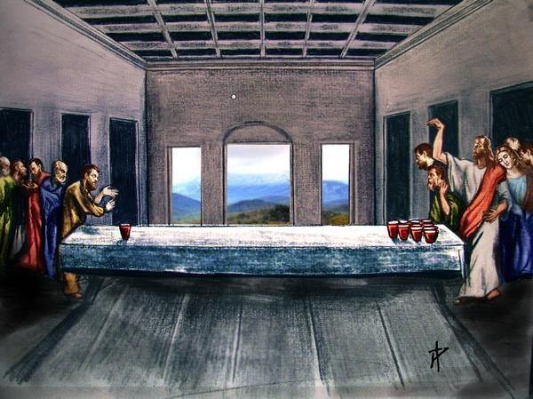 jesus and the 12 disciples playing beer pong