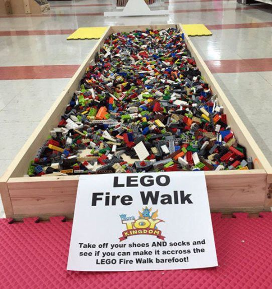 lego fire walk, take off your shoes and socks and see if you can make it across the lego fire walk barefoot