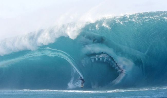 giant shark in huge wave, photoshop or not?