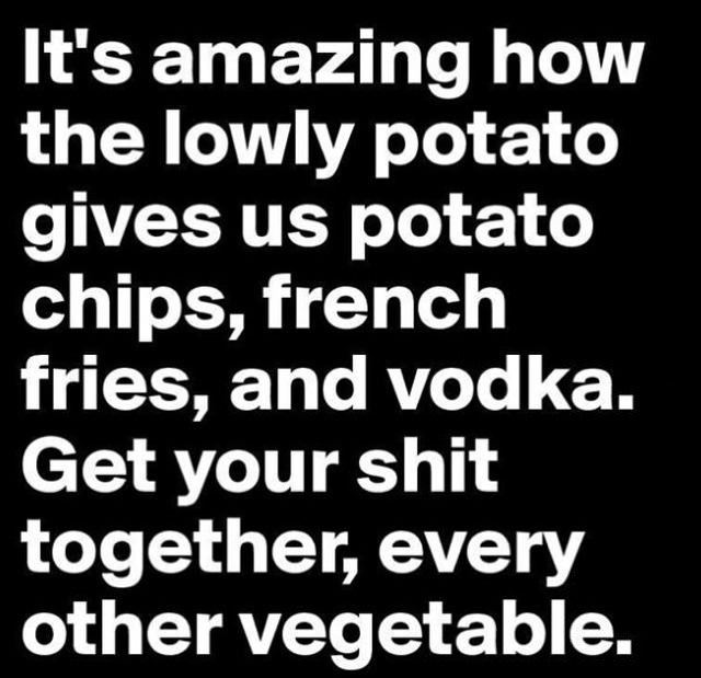 it's amazing how the lowly potato gives us potato chips french fries and vodka, get your shit together other vegetables
