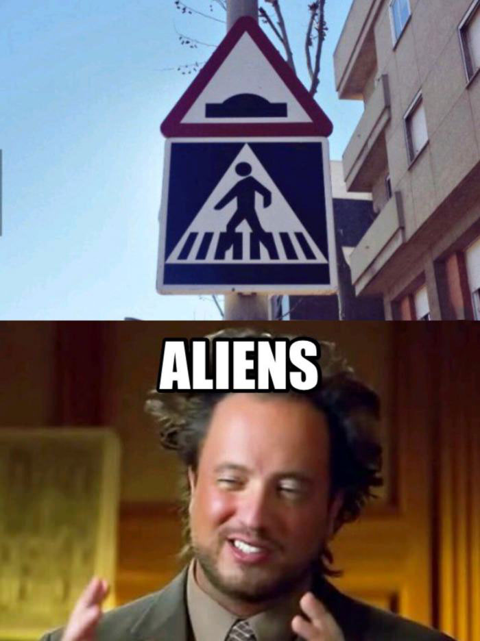 two street signs that look like aliens abducting you, meme