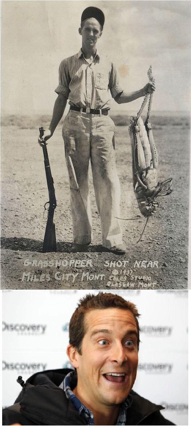 grasshopper shot near miles city mont 1937, bear grylls