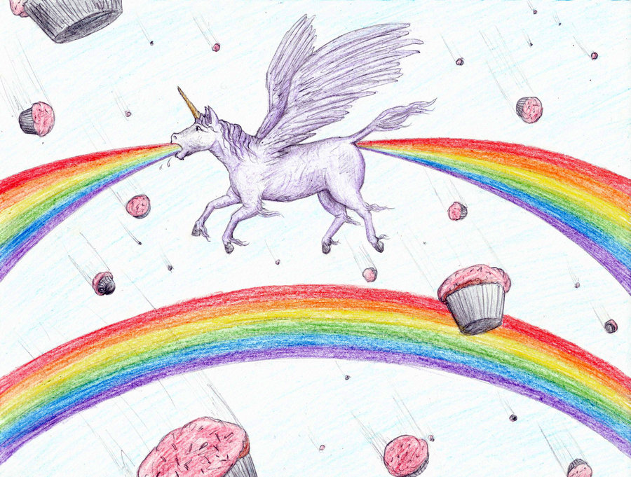 where rainbows really come from, unicorn pooping and vomiting rainbows