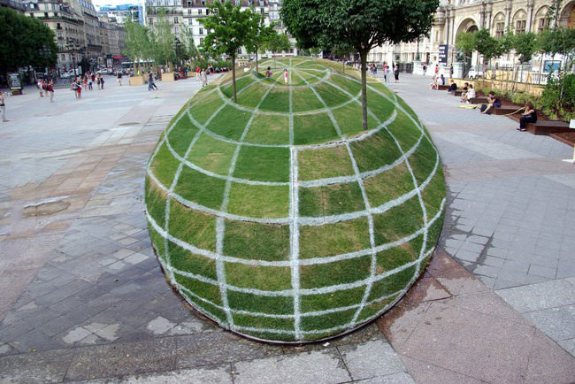 perfect perspective of a park in my city, global shape lines create optical illusion