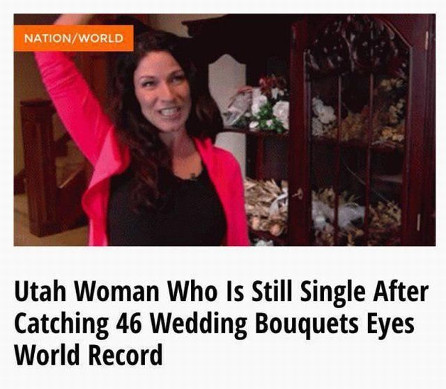 utah woman who is still single after catching 46 wedding bouquets eyes world record