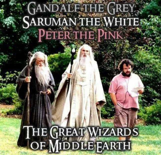 gandalf the grey, saruman the white, peter the pink, the great wizards of middle earth