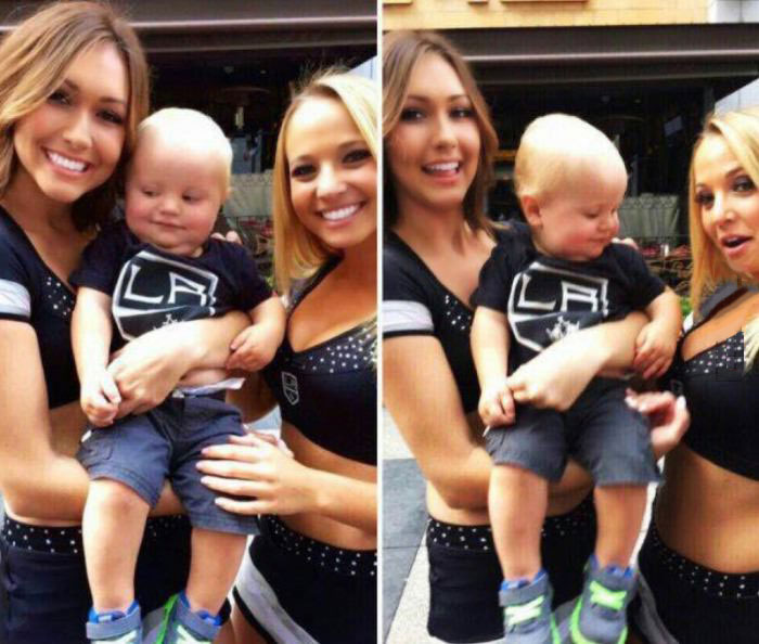 this kid knows where it's at, toddler looking at boobs