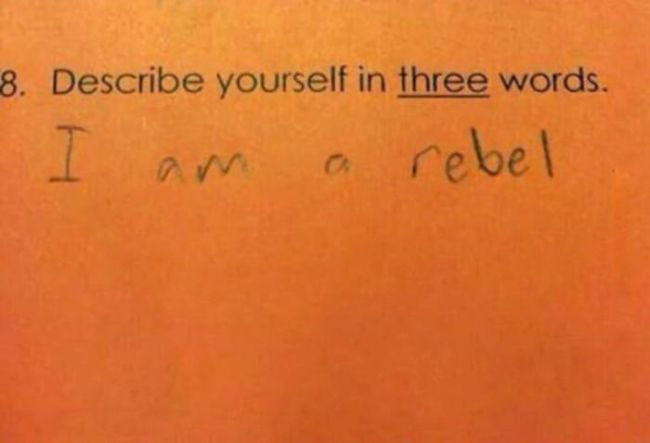 describe yourself in three words, i am a rebel