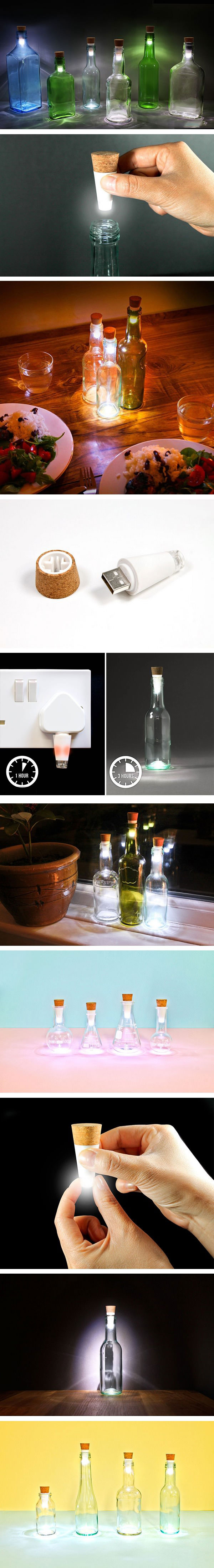 you can turn your old bottles into lamps with rechargeable led corks