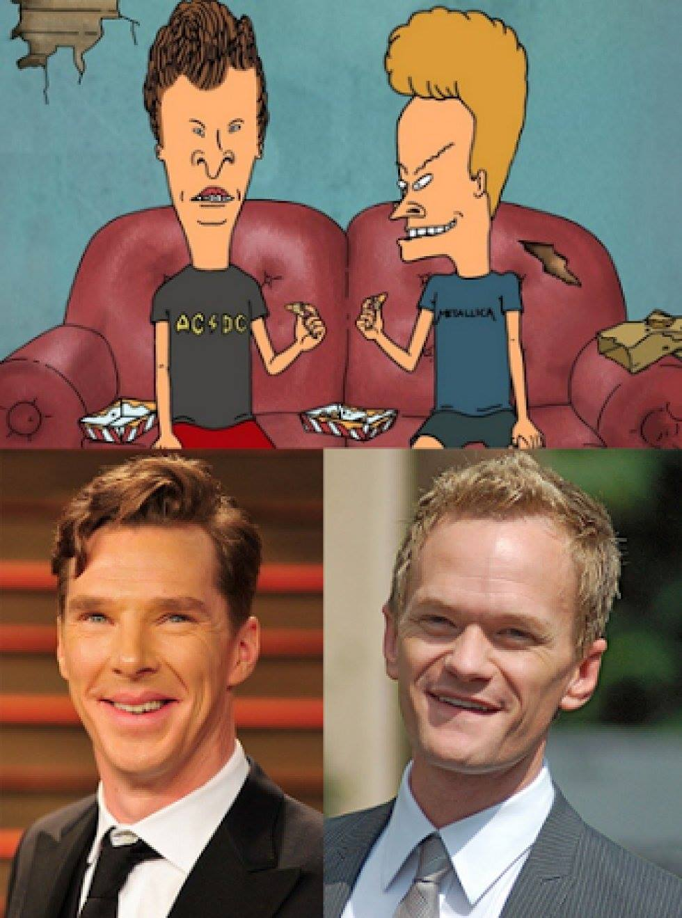 benedict cumberbatch and neil patrick harris totallylookslike beavis and butthead