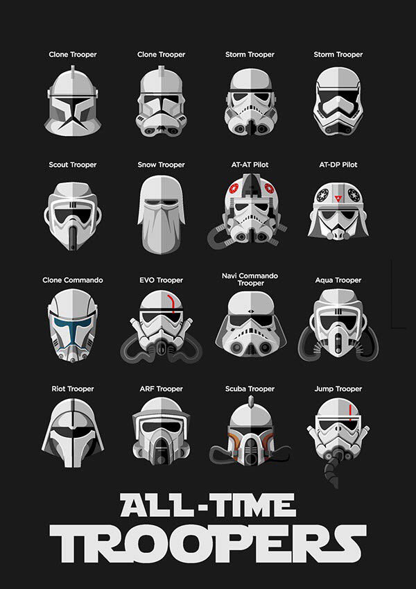 all time troopers, star wars storm troopers helmet designs