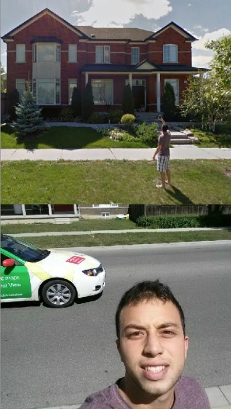 taking a selfie with a google street view car