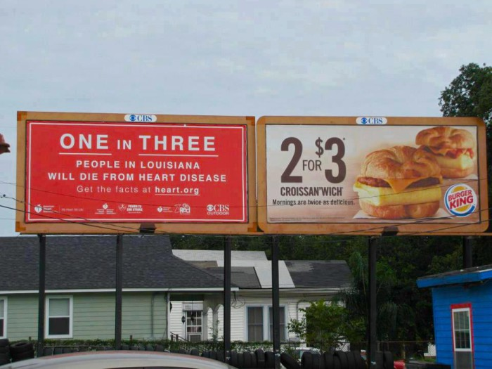 one in three people in louisiana will die from heart disease, 2 for 3$ croissantwich