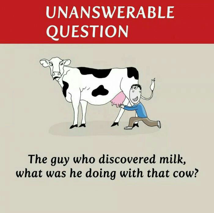 unanswerable question, the guy who discovered milk, what was he doing with that cow?