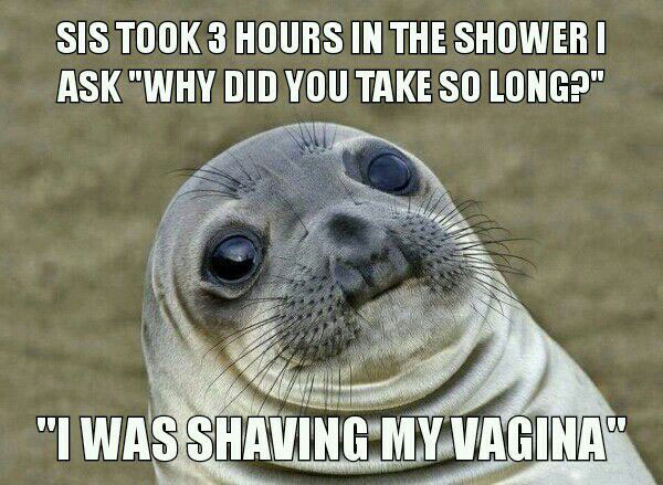 sis took 3 hours in the shower i ask why did you take so long, i was shaving my vagina, awkward moment seal, meme