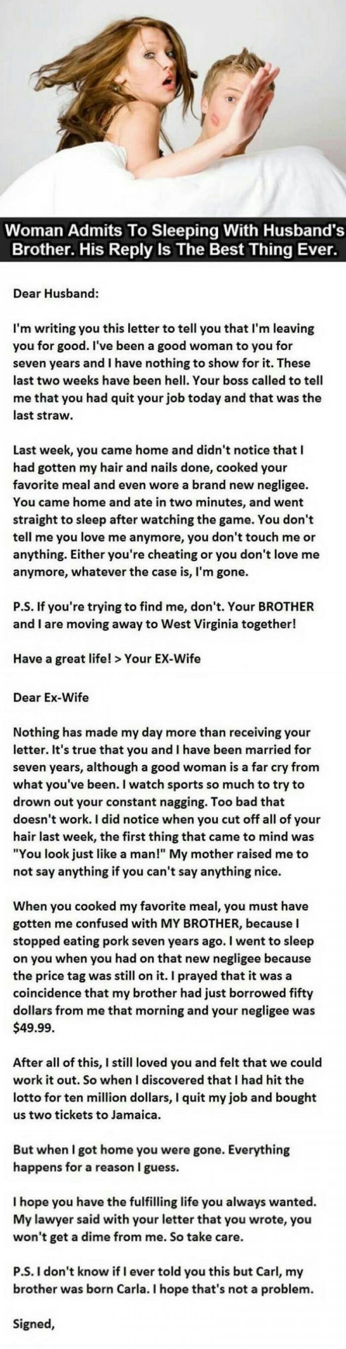 woman admits to sleeping with husband's brother but his reply is the best thing ever, karma