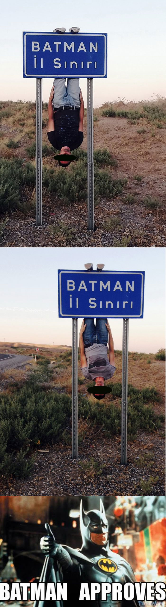 hanging upside down from a batman sign, batman approves