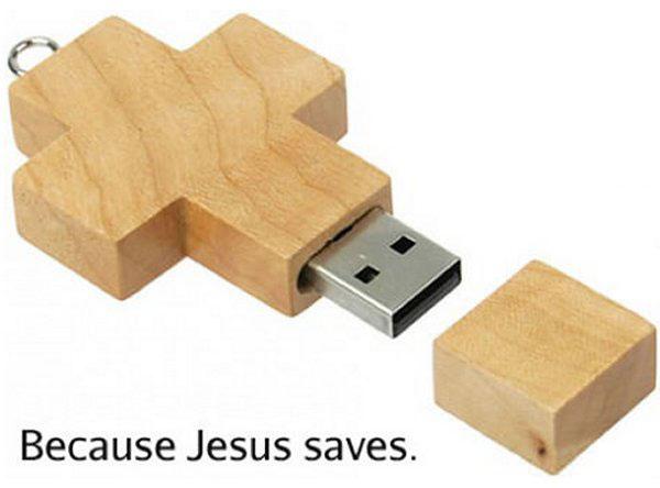 usb key cross because jesus saves